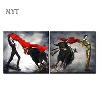 Newest Living Room Bullfight Oil Paintings Group Decoration Canvas 2 Pieces Wall Art