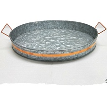 2019 Hot-sell Galvanized Metal Serving Tray / <strong>Plate</strong> for Home Garden and Hotel with Copper Brand