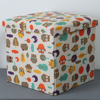 Home Living Colorful Polyester Printing Storage Stool Ottoman