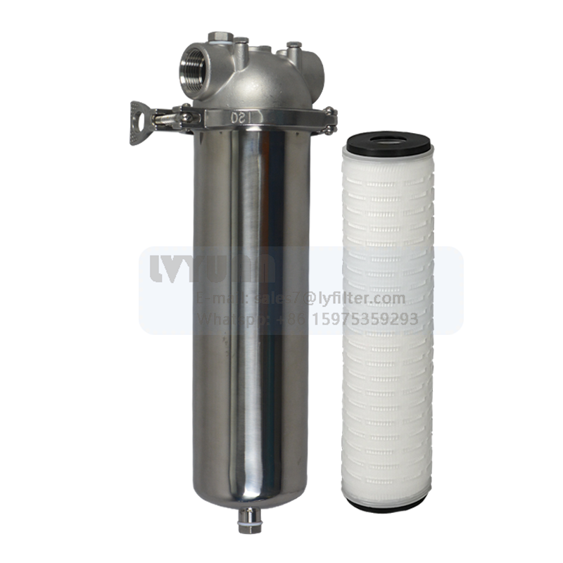 V-clamp stainless steel SS 304 filter 10 inch single liquid water filter housing for wine/beer/oil filter <strong>filtration</strong>