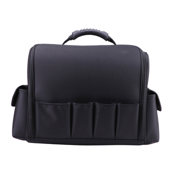 Professional black nylon case large cosmetic bag with extendable trays inside