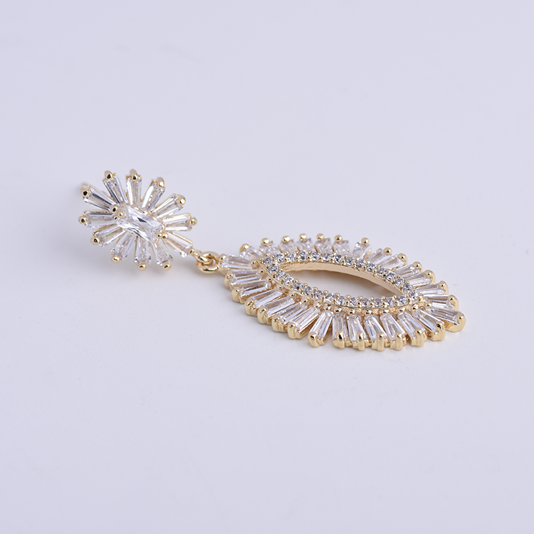 (High) 저 (quality trendy 보석 금 plated 지르코니아 일 꽃 oval drop earrings 대 한 숙 녀