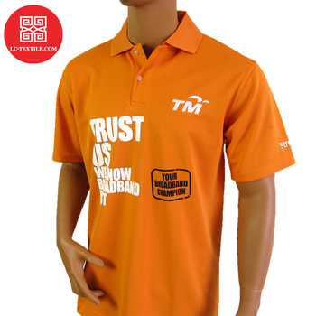 wholesale 2019 no minimum custom print promotional orange color golf shirts uniform dri fit polo with logo