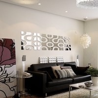 Hot sale diy silver acrylic mirror wall sticker home decoration Europe Multi-piece Package Stickers still life Furniture