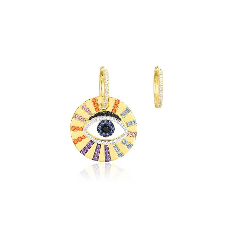 2019 factory customize dangle drop earring round coin charm engraved colorful eye bohemia style <strong>jewelry</strong>