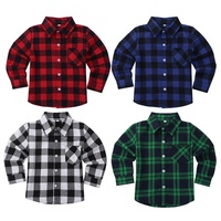 Unisex Kids Check Shirts Long Sleeves Plaid Cotton Brushed Flannel Shirt