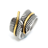 New model Feather design Silver Biker Stainless Steel rings for Men Women Biker Ring Vintage Feather