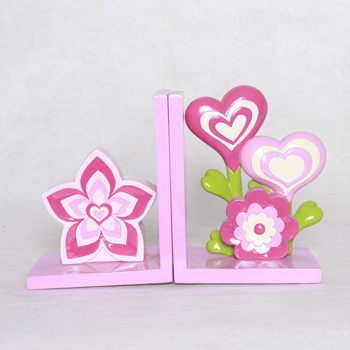Chinese Supplier Resin Pink Flower And Heart Bookends Decorative
