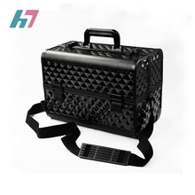 On stock black professional makeup box double open makeup train case