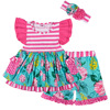 2019 Hot sale girls flutter dress outfits kids summer wholesale print clothes ruffle shorts baby clothing set