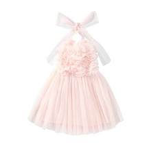 Flofallzique Wholesale Unique Summer Tulle Wave Design Pink Halter Fit Size <strong>Dress</strong> Upper Applique Sleeveless <strong>Girl's</strong> <strong>Dresses</strong>