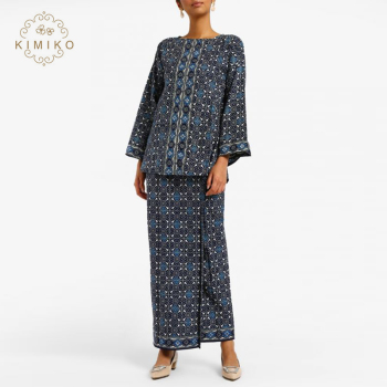 2019 New Model Boat Neckline Flare Sleeves Patch Work Print Moden Baju Kebaya Kurung Batik For Women