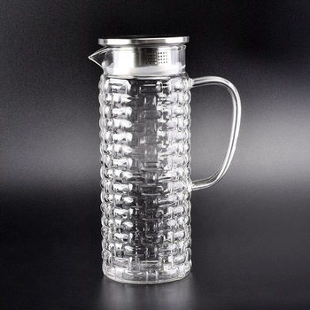 1000ml borosilicate glass water jug with stainless steel lid