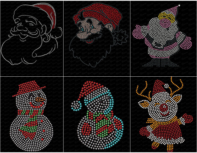 G0830 transfer strass rhinestone  christmas series rhinestone motif hot fix;rhinestone motifs hot fix;hotfix rhinestone motifs