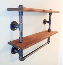 Industrial Pipe <strong>Shelves</strong> Bookcase Rustic Wood Metal Wall Mounted Towel Bar Hanging Storage Racks Floating Wood <strong>Shelves</strong>