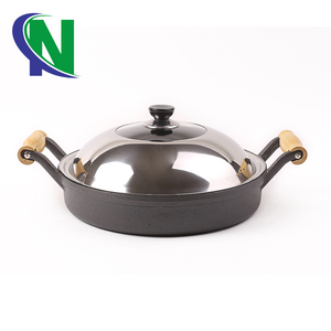 Wholesale Cookware Sets Cookware Sets Black Nonstick Healthy Cast Iron Frying Pan Pizza Pan Grill Pan with Wooden Handles