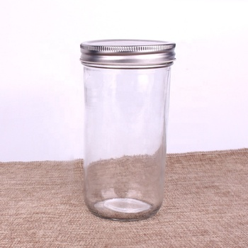 Hot Sell wide mouth 220ml380ml 500ml 750ml Clear Glass CaviarJar for food honey with Metal Screw Cap