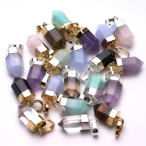 Wholesale Fashion Jewelry Bullet Point Multi Color Gemstone Pendant Gold Silver Plated Pendant
