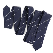 Men's Fashion Business Polyester Woven Navy Blue Stripe Polka Dot Tight Casual Skinny Narrow Novelty Slim <strong>Ties</strong> Men