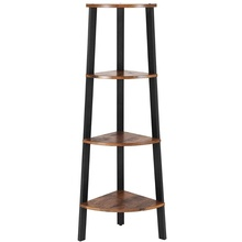 Industrial Corner <strong>Shelf</strong>, 4-Tier Bookcase, Storage Rack Plant Stand for Home Office, Wood Look Accent Furniture with Metal Frame