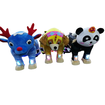 HI walking animal ride on toy plush motorized animals stuffed electric animal ride