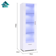 Modern Tall LED Acrylic Display Cabinet Unit High Gloss White Glass Shelves <strong>Furniture</strong> 190cm