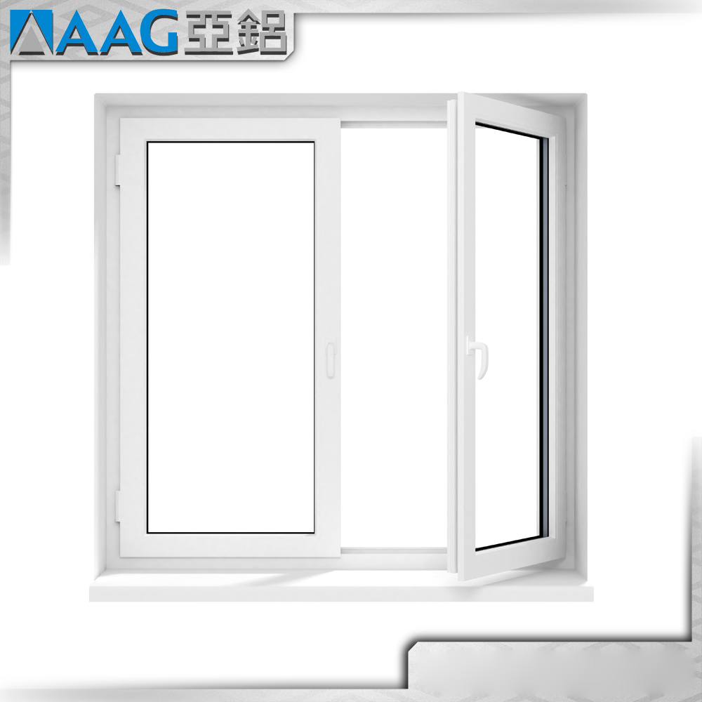 Soundproof commercial double swing aluminum windows