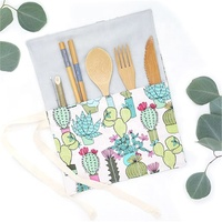 Biodegradable reusable small baby wooden knife tea coffee ice cream bamboo spoon and fork cutlery travel set with bag