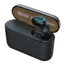 Wireless Q32 Bluetooth v5.0 Single Ear Headset Headphone <strong>w</strong>/Charging Bin Black