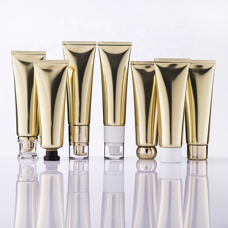 Stock Short Leadtime Luxury 50ml Golden Laminated Aluminum <strong>Tube</strong> with Different Lids Pump