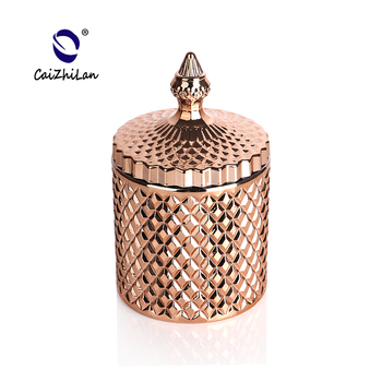 Candle containers with rose gold lid,candle glass jar