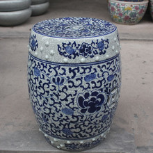 Blue China hand drawing ceramic bathroom seat beautifully decorated porcelain stool ceramic garden stool