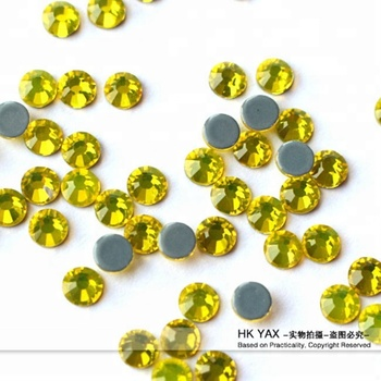 Y0921 non transfer Citrine color ss10 flat back wholesale crystal flat back strass stone for nails designs  SS16 SS20 SS30 SS40
