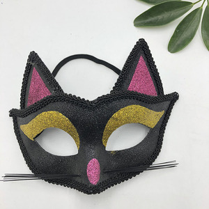 Adults Halloween Glitter Cat Eye Mask Black with golden eys Mas Unisex Stag Party Fancy Dress Accessory