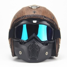 PU leather motorcycle helmet with goggle masks for retro motorcycle