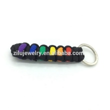 2019 New Rainbow LGBT paracord key chain alloy metal key chain High Quality Low MOQ