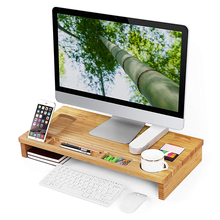 Computers Shelf Bamboo Monitor Stand