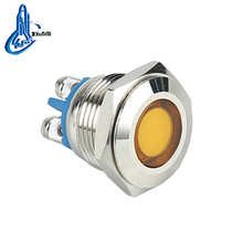 ip67 yellow Metal Stainless Steel LED waterproof metal round flush 16mm led indicator light,16mm 220v signal lamp AD22C-16A/S