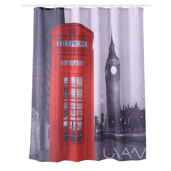 London Telephone Booth Pattern Waterproof Fabric 3D Shower Curtain