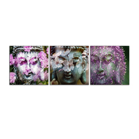 Buddha Head Face and Flower Modern Artwork Wall Canvas Oil Painting