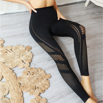 Explosion models seamless knit hips porous moisture wicking yoga pants sports fitness suit sexy hips leggings