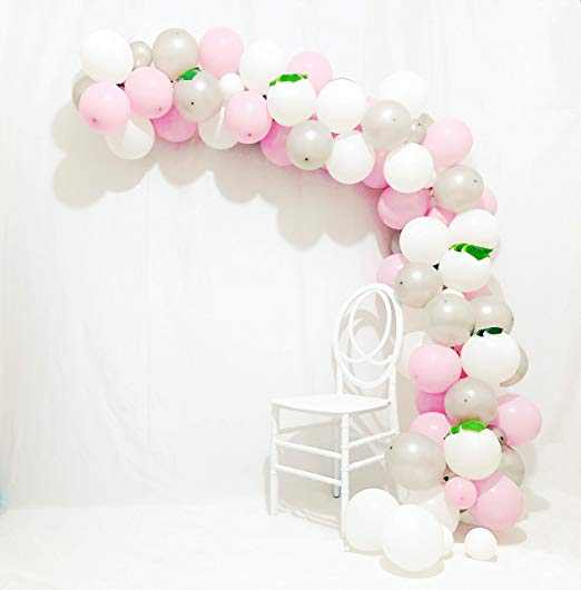 Arch bridge balloon of pink, silver and white, 90 units of <strong>12</strong> and 5 inches, silver balloons, pastel pink balloons,etc