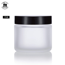 4 oz / 120ml Frosted Clear <strong>Glass</strong> Straight Sided <strong>Jar</strong> with Black Smooth Lids