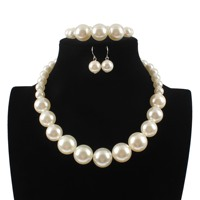 Women Wedding Bridal Fashion Imitation White Natural pearl Jewelry Sets Earrings Bracelet Jewelry