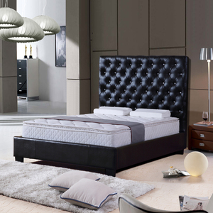 Foshan furniture velvet face tufted headboard king size hotel bedroom bed