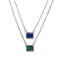 exaggerated personality creative blue green gemstone emerald sapphire multi-layer double layer alloy necklace sweater <strong>chain</strong>