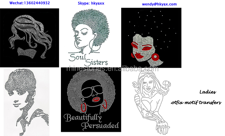 0901 China factory custom wholesale transfers iron on afro girl rhinestone rhinestone iron on transfers