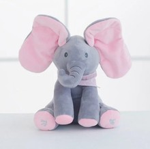30cm Amazon cheap promotional custom stuffed plush elephant cartoon <strong>animal</strong> singing and moving toys