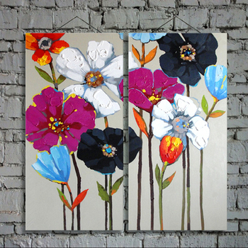 Textured abstract white flower canvas acrylic painting for living room decoration