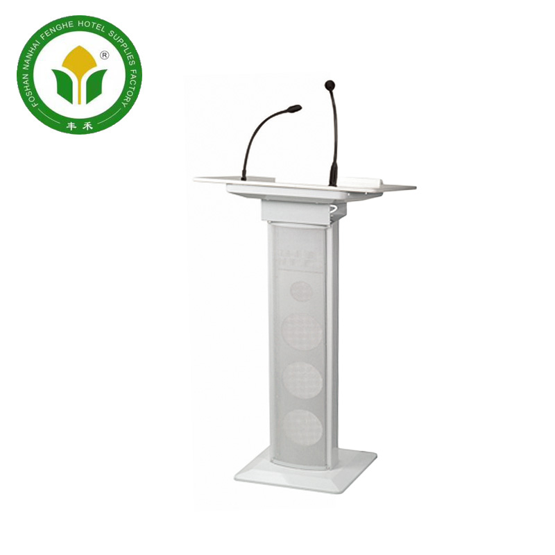 Hotel white metal rostrum lectern podium with microphone
